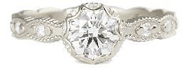 Megan Thorne Scalloped Bezel Solitaire with Ribbed Shank - Rose Cut (1.21cts)