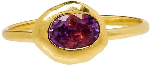 Natasha Collis 18k Gold Large Nugget Ring With Sapphire