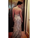 Emmy Rossum flaunted the back of her gown. Source: Instagram user emmyrossum