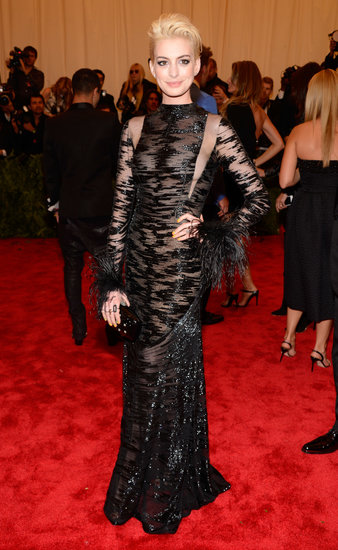 Whoa! Anne Hathaway Goes Platinum Blond at the Met Gala