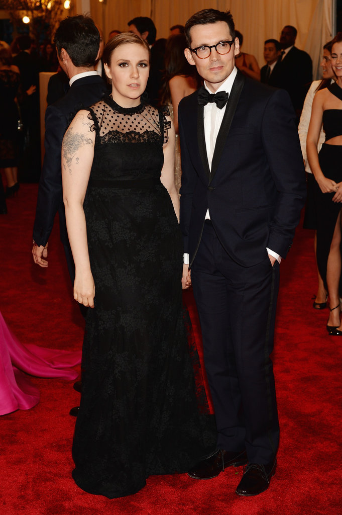 Lena Dunham went with a black Erdem gown with a polka-dot neckline.