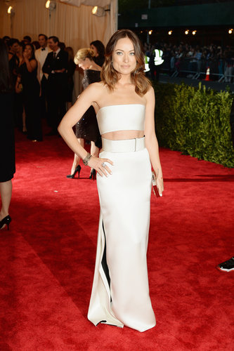 Olivia Wilde's white Calvin Klein bare-midriff ensemble showed just enough skin, while her Fred Leighton jewels added dazzle.