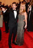 Claire Danes picked a smoky beaded Oscar de la Renta dress for her night out with tuxed husband Hugh Dancy.