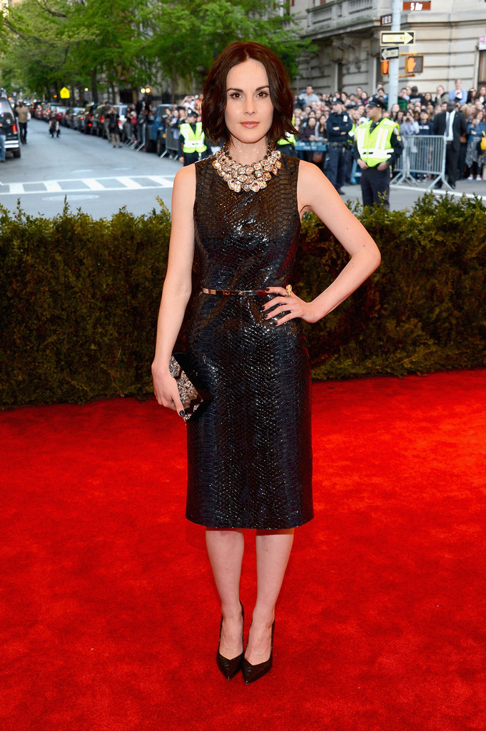 Michelle Dockery's Burberry python-print leather shift dress was ladylike in silhouette but totally punk in fabric.