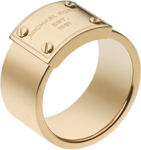 Michael Kors Logo-Plate Ring, Golden