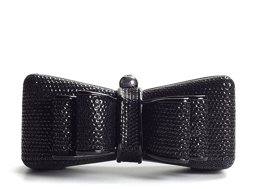 Lulu Townsend Sequined Bow-Shaped Box Clutch