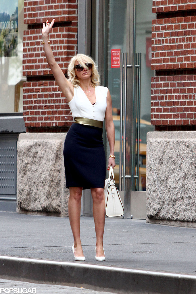 Cameron Diaz hailed a cab while filming scenes for her movie The Other Woman in NYC.