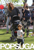 Gisele Bündchen had her hands full, pushing baby Vivian Brady and following son Benjamin Brady while at a party at a local NYC park.