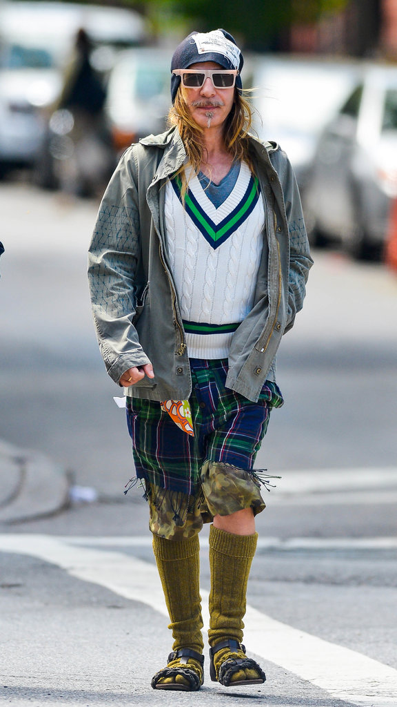 John Galliano donned a unique ensemble while out and about in New York City.