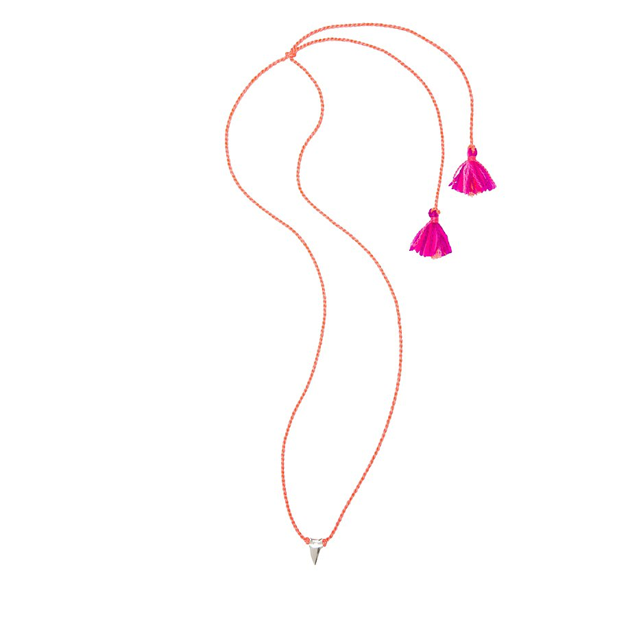 We love the hot-pink tassel detail on this Dezso by Sara Beltrán mini shark tooth necklace ($100).