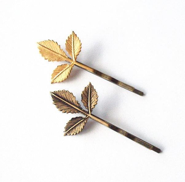 Leaf bobby pins ($16) are ideal for an Autumn wedding.
