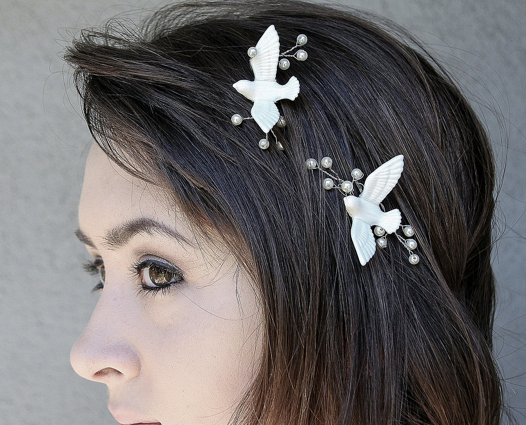 This pair of love-bird bobby pins ($32) lends a romantic touch.