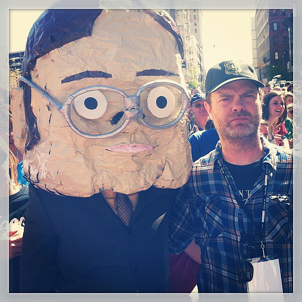 Rainn Wilson put on his serious face while posing with a giant papier-maché version of his character from The Office, Dwight. Source: Instagram user rainnwilson