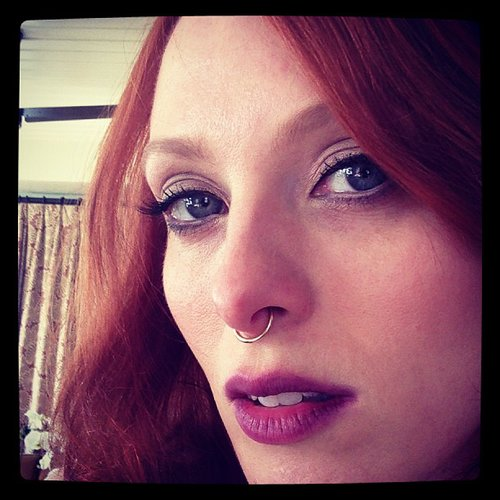 Karen Elson showed off her punk accessory for the night — a nose ring! Source: Instagram user misskarenelson