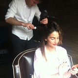 Lily Aldridge got ready with bold brows, a red lip, and inky black nails. Source: Instagram user victoriassecret