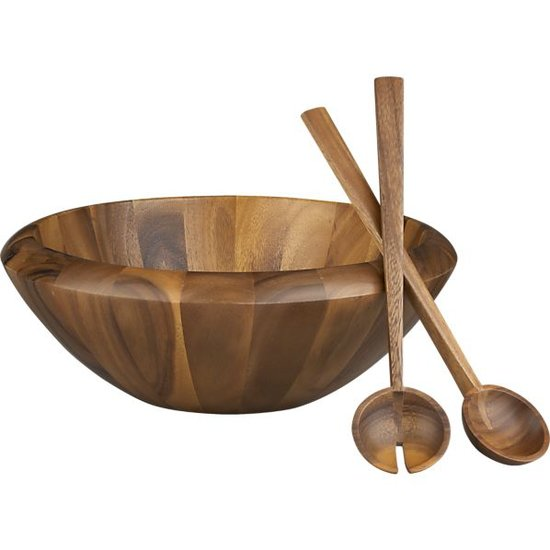 Acacia Salad Bowl and Servers
