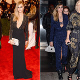 Cara Delevingne's studded plunging column dress, white studded clutch, and shoes  — all by Burberry — provided the punk early on. But to keep her signature cool-girl style front and center, the British model slipped into a bright blue printed pantsuit, which revealed a lacy bra, too.