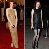 Karen Elson ditched her gold beaded and fringed Julien MacDonald halter gown in favor of a sexier LBD and fishnet tights.