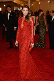 Amber Heard was quite literally red hot in her lacy Emilio Pucci number.