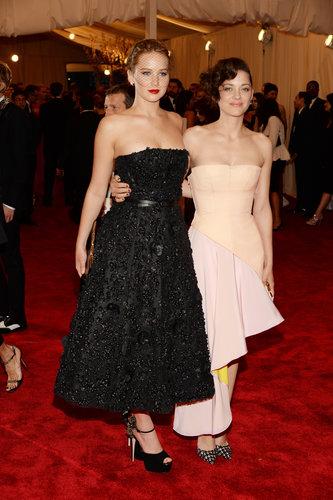 Marion Cotillard and Jennifer Lawrence at the Met Gala 2013.