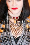 Madonna wore a gold choker with a monogrammed lock. Photo: Julian Mackler BFAnyc.com