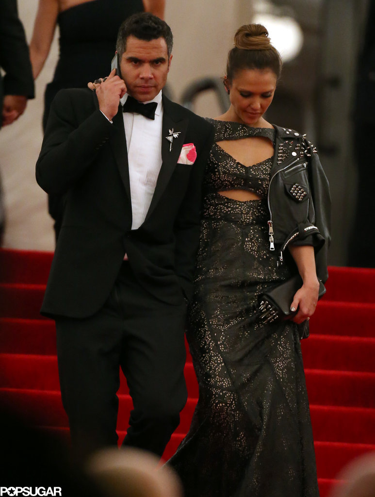Cash Warren chatted on his phone while escorting wife Jessica Alba out of the Met Gala.