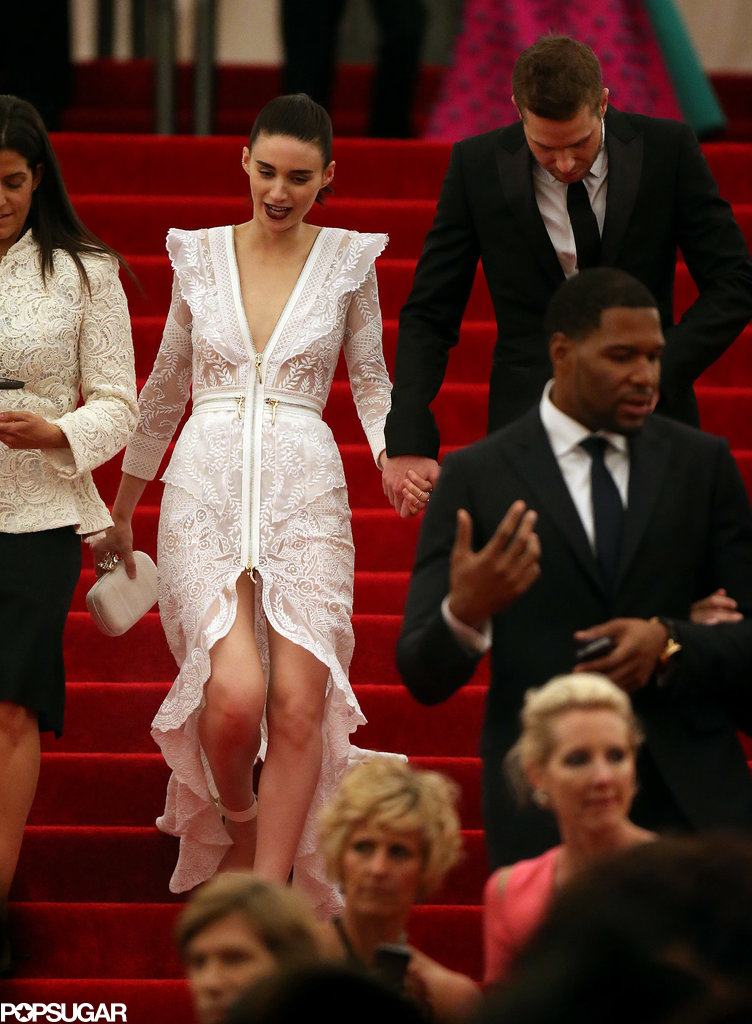 Rooney Mara held onto a friend while leaving the Met Gala.