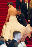 Katie Holmes had help with her custom Calvin Klein Collection frock from her designer date, Francisco Costa.