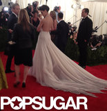Katie Holmes's dress had a low-cut back — and quite a train.