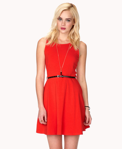 FOREVER 21 Fit & Flare Dress w/ Skinny Belt