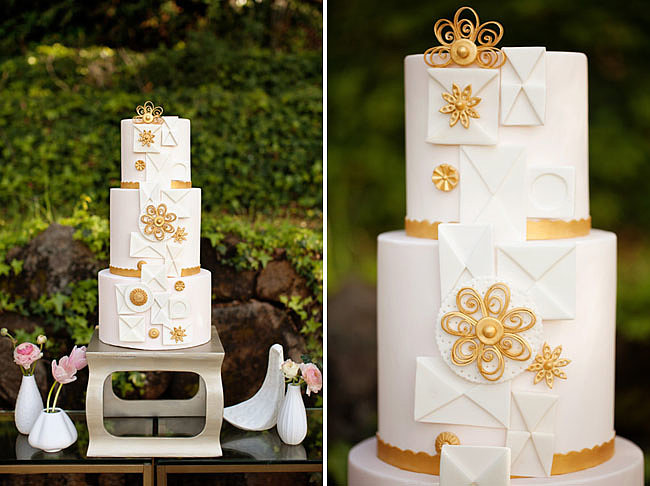 This whimsical cake is a mod masterpiece unlike any we've seen. Photo by  The Bee and The Bobbin  via Green Wedding Shoes