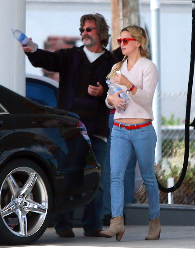 Kate Hudson picked up refreshments with Kurt Russell before heading to a Santa Barbara, CA, winery.