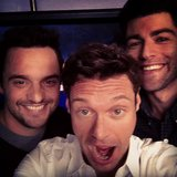 New Girl's Jake Johnson and Max Greenfield smiled big alongside Ryan Seacrest. Source: Instagram user ryanseacrest