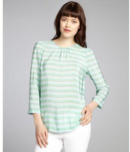 Tegan mint and taupe striped silk three quarter sleeve blouse