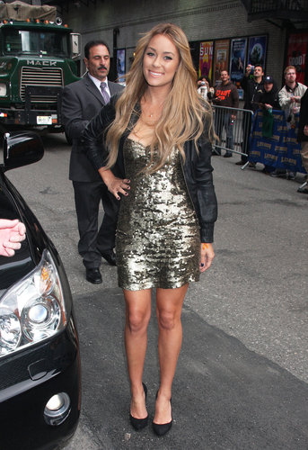 LC opted for edgy glamour, topping her sequined dress with a leather bomber jacket at the Late Show With David Letterman in 2009. Lesson from Lauren: don't be afraid to pair unconventional textures, as they create the coolest combos.