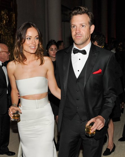Olivia Wilde and Jason Sudeikis held each other on their way into the Met Gala. Source: Billy Farrell/BFANYC.com