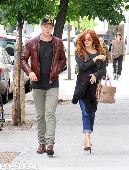 Nicholas Hoult walked with Riley Keough in NYC.