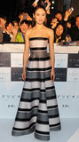 At the Japan premiere of Oblivion, Olga Kurylenko looked ladylike in a striped Dior ball gown. She wore little else except for a pair of gold drop earrings.