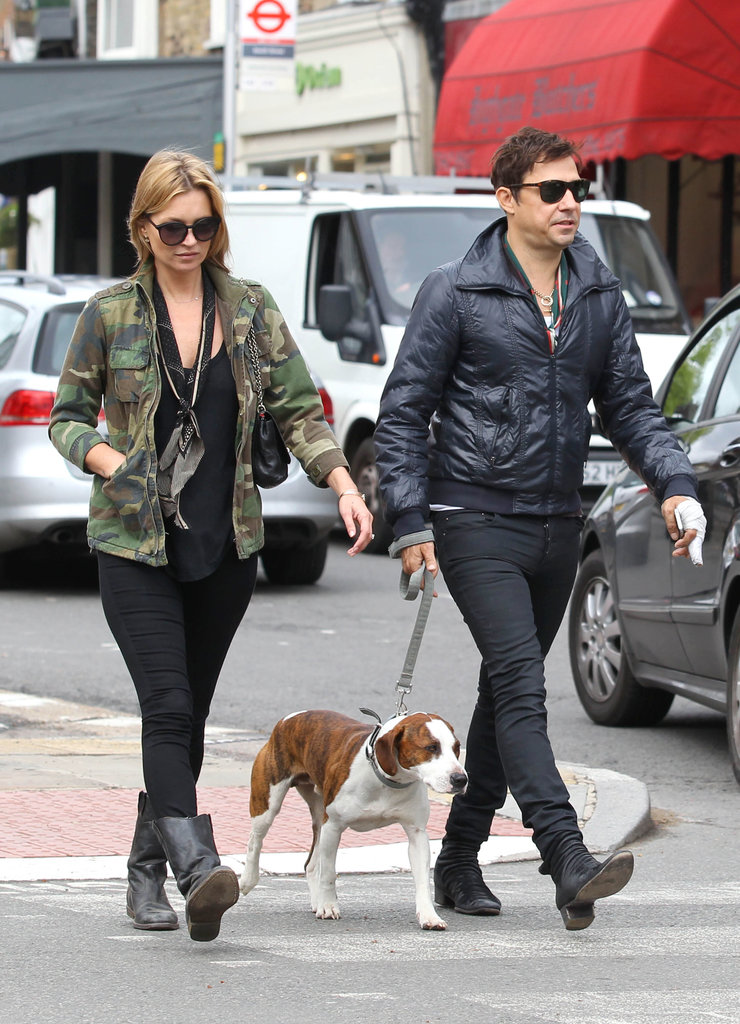 Kate Moss and Jamie Hince walked their dog in London.