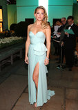The pastel blue Reem Acra gown Kate Hudson donned at the Tiffany & Co. ball in NYC was not only appropriate for that evening, but would also dazzle at a big city wedding. The sweetheart neckline and thigh-high slit are sexy without being over-the-top.