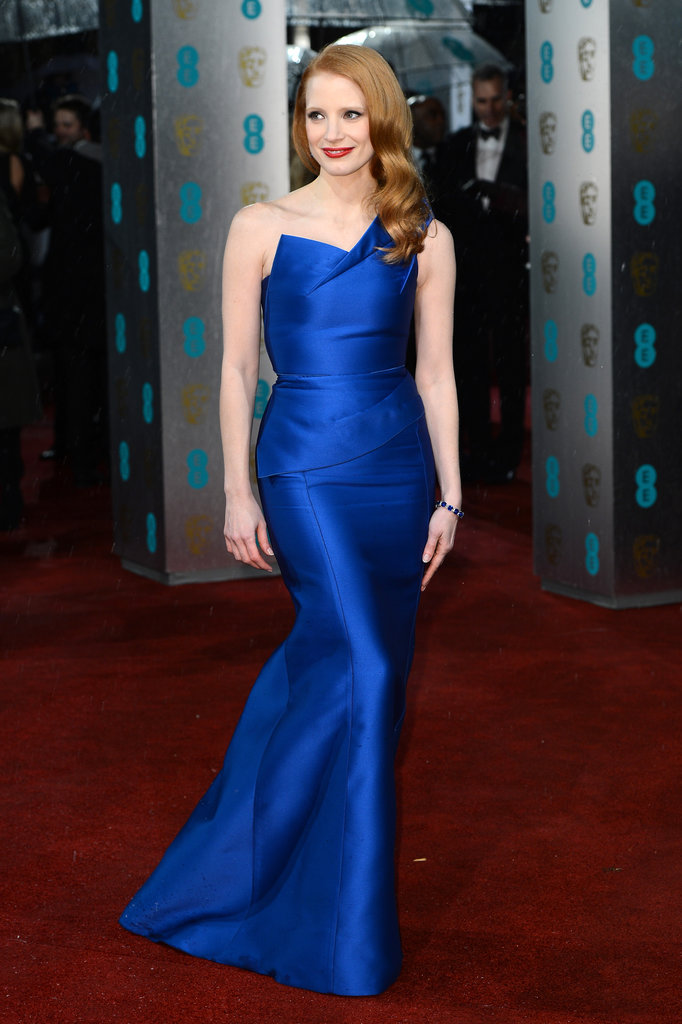 Electric blue is a surefire way to get a bridal party noticed at a black-tie affair, just as Jessica Chastain was in her Roland Mouret gown at the British Academy Film Awards in London.
