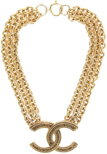 Chanel Vintage logo pendant necklace