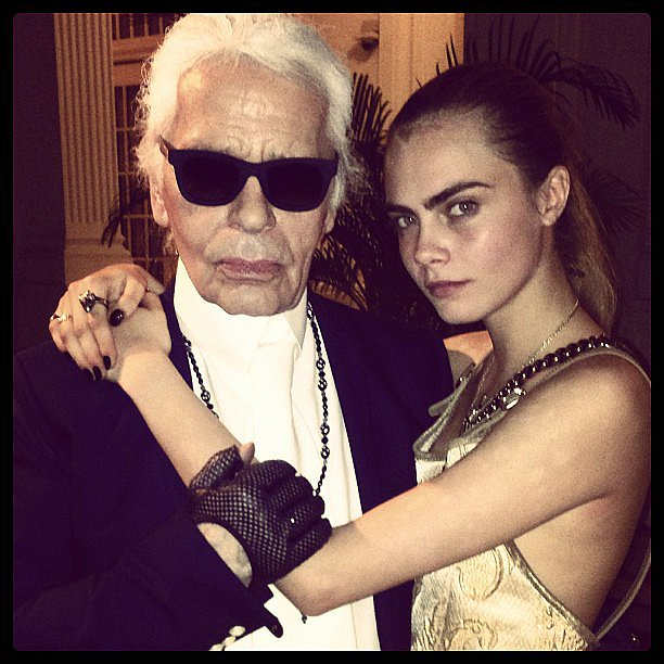 Cara Delevingne cozied up to Karl Lagerfeld at a Chanel event in Singapore. Source: Instagram user caradelevingne