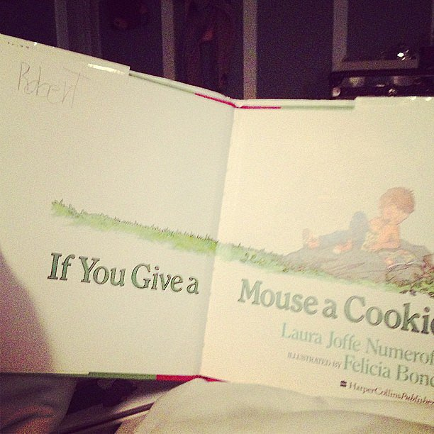 Kourtney Kardashian reached into the family archives for a prenap book for her kids.  Source: Instagram user koutneykardash