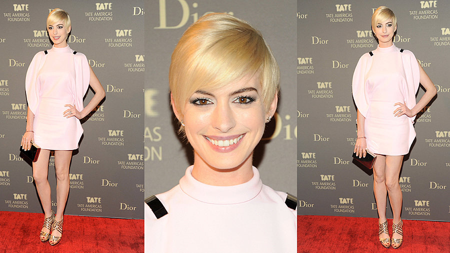 Anne Hathaway Is Still Rocking Her Platinum Look!