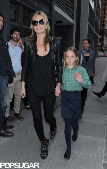 Kate Moss wore head to toe black, finished with embellished Isabel Marant boots and cat-eye sunglasses, while out in London.