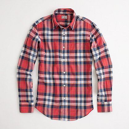 Factory washed shirt in summer plaid