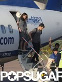 James Righton and Keira Knightley stepped off a plane.