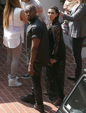 Kanye West and Kim Kardashian looked back while in LA.