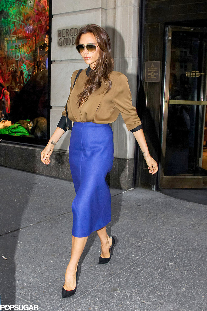 Victoria Beckham walked out of Bergdorf Goodman in NYC.